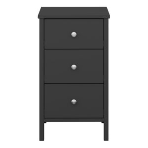 Steens Tromso Black 3 Draw Bed Side Table-Steens-Better Bed Company