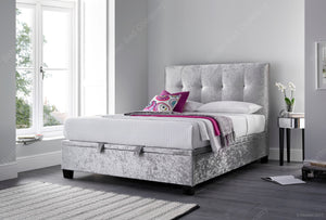 Kaydian Walkworth Crushed Velvet Silver Ottoman Bed Frame-Better Bed Company