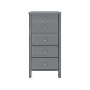 Steens Tromso 5 Draw Grey Narrow Chest Of Draws-Better Bed Company