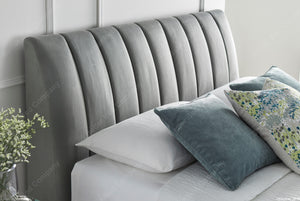 Kaydian Lanchester Velvet Plume Ottoman Bed Frame Headboard Close Up View-Better Bed Company