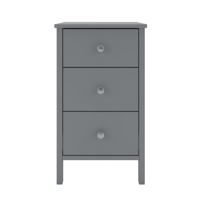 Steens Tromso Grey 3 Draw Bed Side Table
