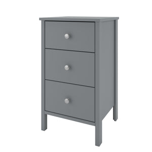 Steens Tromso Grey 3 Draw Bed Side Table-Better Bed Company