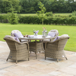Maze Rattan Winchester 4 Seat Round Dining Set With Heritage Chairs-Better Bed Company