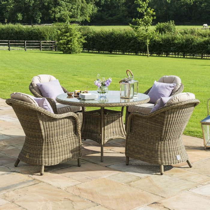 Maze Rattan Winchester 4 Seat Round Dining Set With Heritage Chairs
