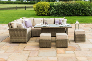 Maze Rattan Winchester Corner Dining Set With Rising Table-Better Bed Company