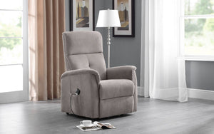 Julian Bowen Ava Rise And Recline Chair In Taupe Fabric-Better Bed Company