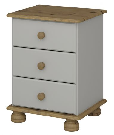 Steens Richmond 3 Draw Grey And Pine Bed Side Table