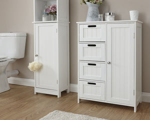 GFW Colonial 4 Drawer + 1 Door Bathroom Unit-GFW-White-Better Bed Company