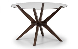 Julian Bowen Chelsea Glass Top Round Dining Table-Better Bed Company