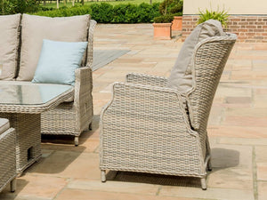 Maze Rattan Cotswold Reclining Corner Dining with Rising Table Dining Set Chair Side View-Better Bed Company