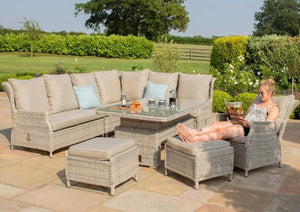 Maze Rattan Cotswold Reclining Corner Dining with Rising Table Dining Set-Better Bed Company