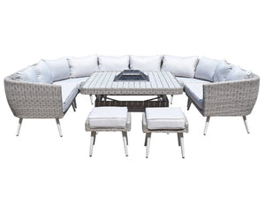 Signature Weave Danielle U Shape Sofa Dining Set With Fire And Drinks Pit White Background-Better Bed Company