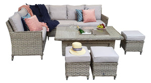 Signature Weave Edwina Corner Dining In 3 Wicker With Lift Table And Ice Bucket-Better Bed Company