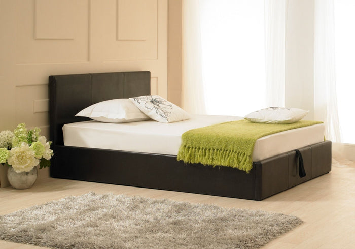 Emporia Beds Madrid Faux Leather Ottoman Bed Brown