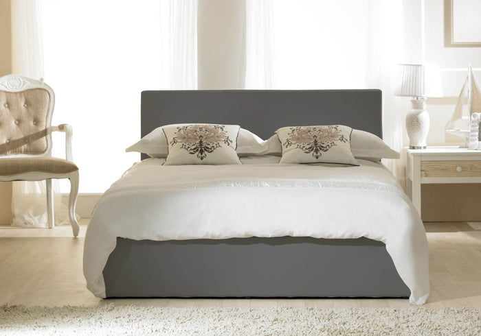 Emporia Beds Madrid Faux Leather Ottoman Bed Grey