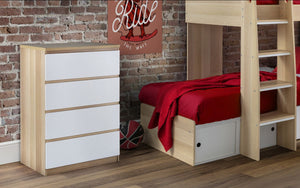 Julian Bowen Jupiter 4 Drawer Chest White And Oak-Better Bed Company