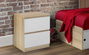 Julian Bowen Jupiter 2 Draw Bed Side Table White And Oak-Better Bed Company