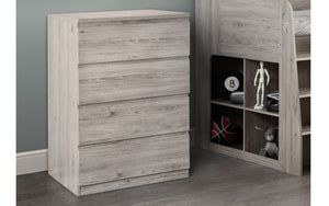 Julian Bowen Jupiter 4 Drawer Chest Grey Oak-Better Bed Company