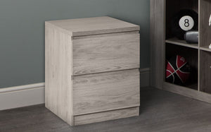 Julian Bowen Jupiter 2 Draw Bed Side Table Grey Oak-Better Bed Company