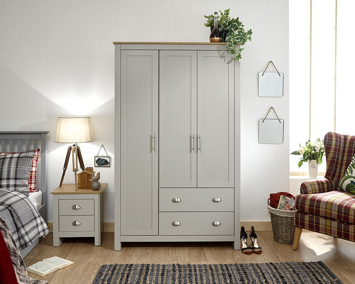 GFW Lancaster 3 Door 2 Drawer Wardrobe