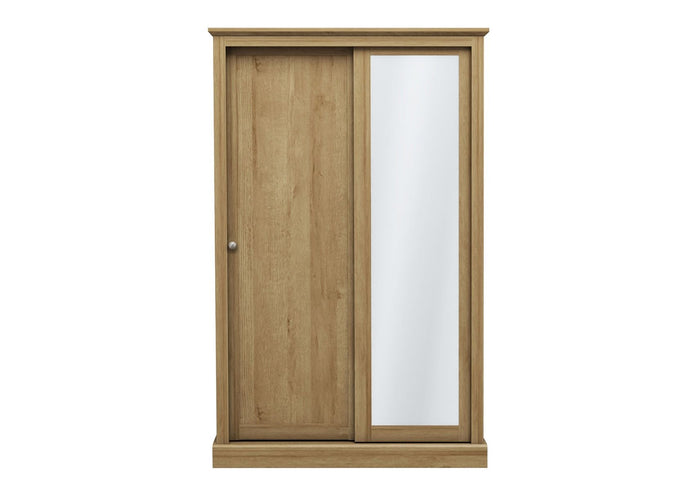 LPD Furniture Devon Oak 2 Door Sliding Mirror Wardrobe