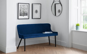 Julian Bowen Luxe High back Bench Blue-Better Bed Company
