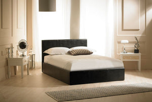 Emporia Beds Madrid Black Faux Leather Ottoman Bed-Better Bed Company