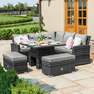 Maze Rattan Richmond Corner Bench Set With Rising Table-Sofas-Maze Rattan-Brown-Better Bed Company