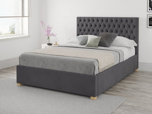 Aspire Furniture Nightingale Ottoman Bed Lift Down Small Double Plush Velvet Grey-Better Bed Company