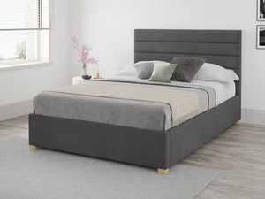 Aspire Furniture Nightjar Ottoman Bed Steel Grey Small Double-Better Bed Company