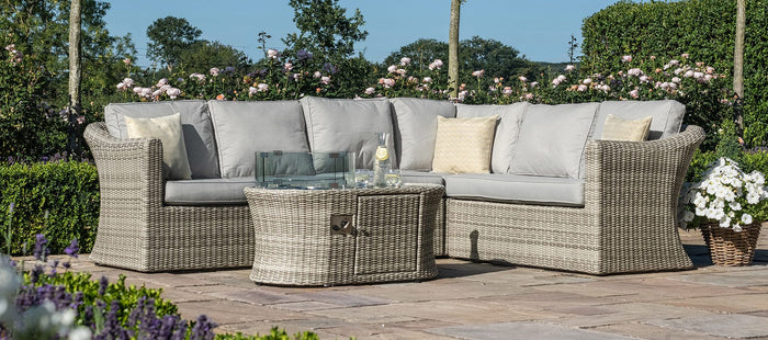 Maze Rattan Oxford Large Corner Sofa With Fire Pit