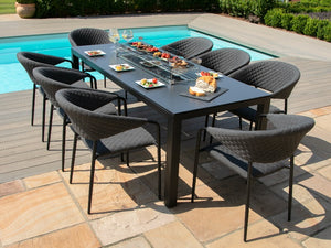 Maze Rattan Pebble 8 Seat Rectangular Fire Pit Dining Set Charcoal-Better Bed Company
