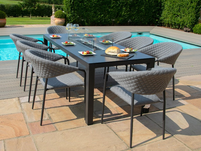 Maze Rattan Pebble 8 Seat Rectangular Fire Pit Dining Set