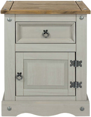 Core Products Grey Corona 1 Door, 1 Drawer Bedside Cabinet-Core Products-Better Bed Company