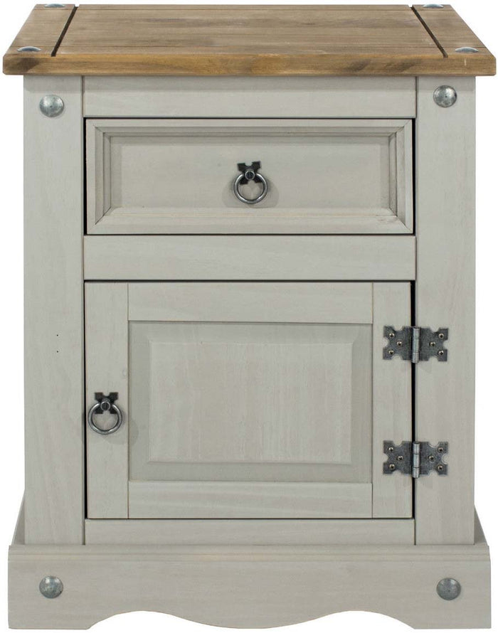 Core Products Grey Corona 1 Door, 1 Drawer Bedside Cabinet