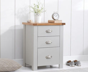 Mark Harris Furniture Sandringham Oak And Grey 3 Draw Tall Bed Side Table-Better Bed Company