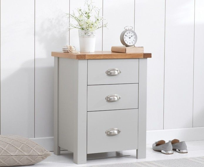Mark Harris Furniture Sandringham Oak And Grey 3 Draw Tall Bed Side Table