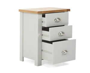 Mark Harris Furniture Sandringham Oak And Grey 3 Draw Tall Bed Side Table Draws Open-Better Bed Company