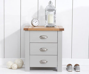 Mark Harris Furniture Sandringham Oak And Grey 3 Draw Bed Side Table-Better Bed Company