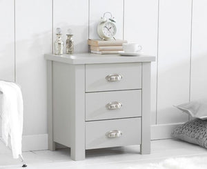Mark Harris Furniture Sandringham Grey 3 Draw Bed Side Table-Bed Side Tables-Better Bed Company