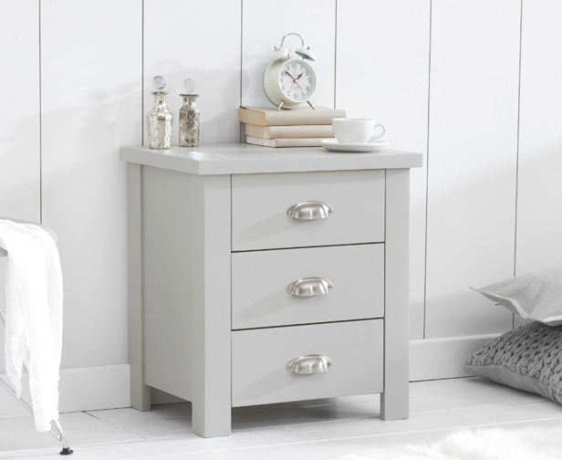 Mark Harris Furniture Sandringham Grey 3 Draw Bed Side Table
