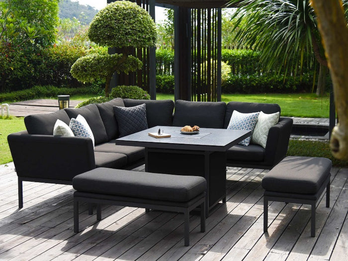 Maze Rattan Pulse Square Corner Dining Set With Fire Pit Table