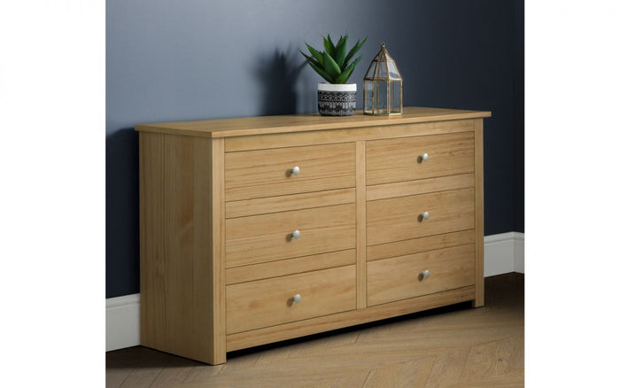 Julian Bowen Radley 6 Drawer Chest In Waxed Pine