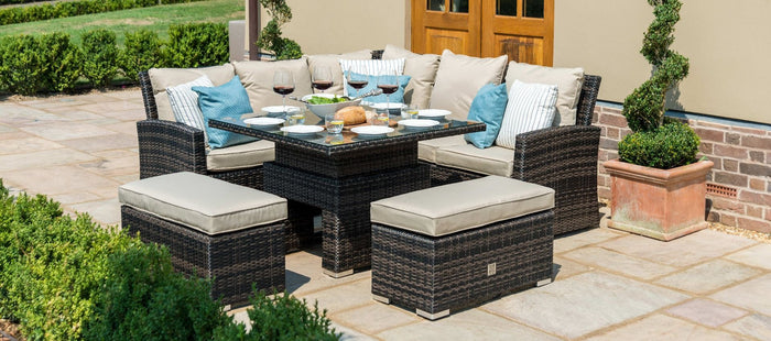Maze Rattan Richmond Corner Bench Set With Rising Table