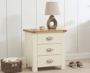 Mark Harris Furniture Sandringham Oak And Cream 3 Draw Bed Side Table