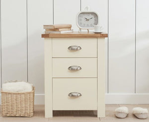 Mark Harris Furniture Sandringham Oak And Cream 3 Draw Tall Bed Side Table-Better Bed Company
