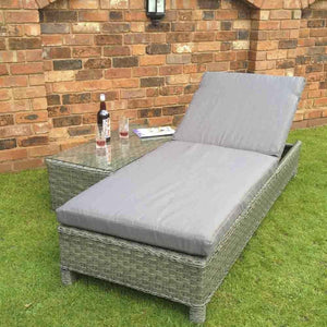 Signature Weave Sarena Rattan Sunbed Set with Coffee Table Grey Triple Weave-Better Bed Company