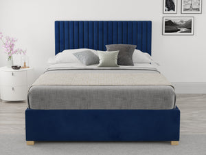 Aspire Furniture Sterling Ottoman Bed Small Double Plush Navy-Better Bed Company
