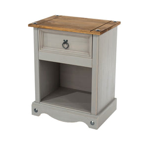 Core Products Grey Corona 1 Drawer Bedside Cabinet-Better Bed Company