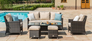 Maze Rattan Venice Sofa Dining Set with Ice Bucket and Rising Table-Sofas-Maze Rattan-Brown-Better Bed Company